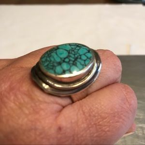 Spider Web Turquoise Sterling Silver Ring 9